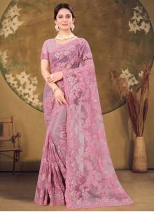 Stone Work Net Designer Saree in Pink