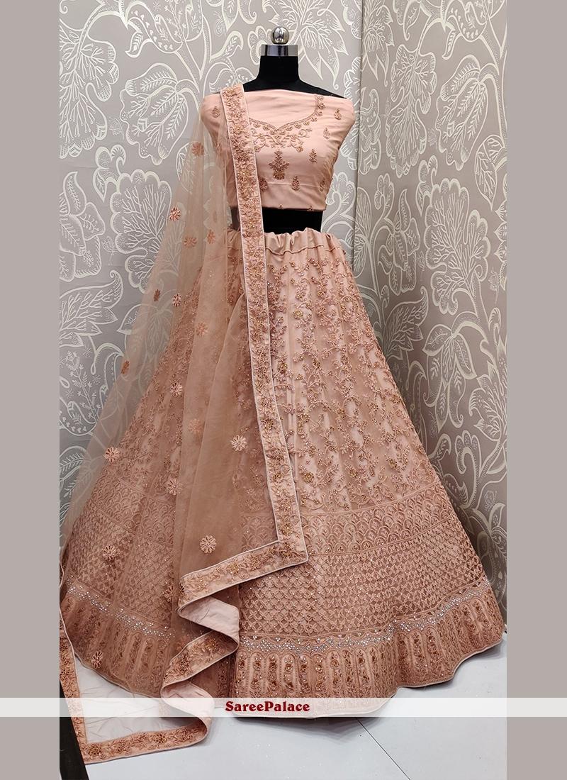 Buy Stone Work Net Peach Designer Lehenga Choli Online