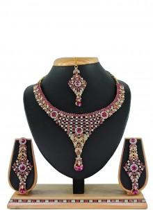 Stone Work Pink Necklace Set