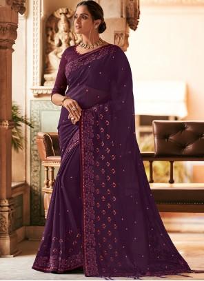 Stone Work Purple Classic Designer Saree