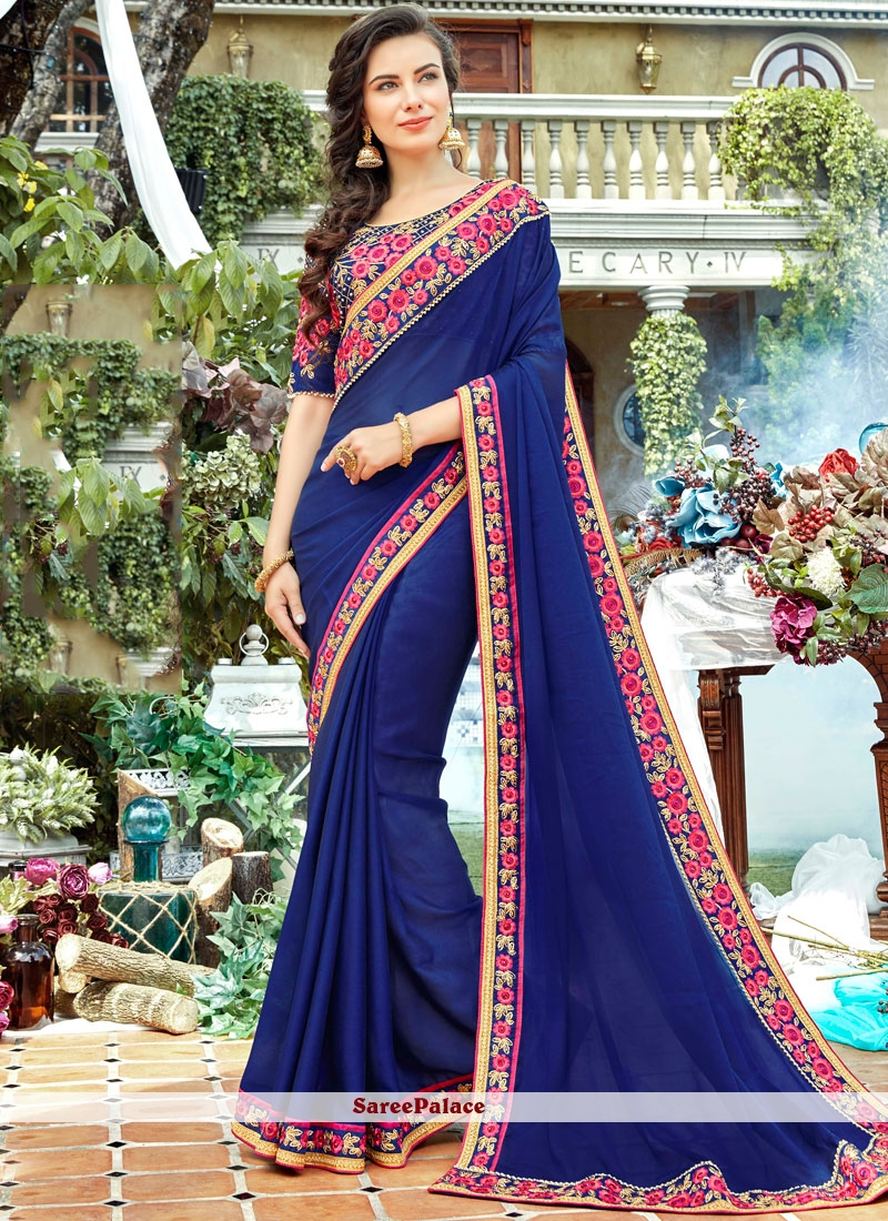 Stone Work Rangoli Blue Designer Saree