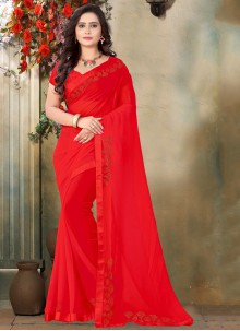 Stone Work Red Trendy Saree