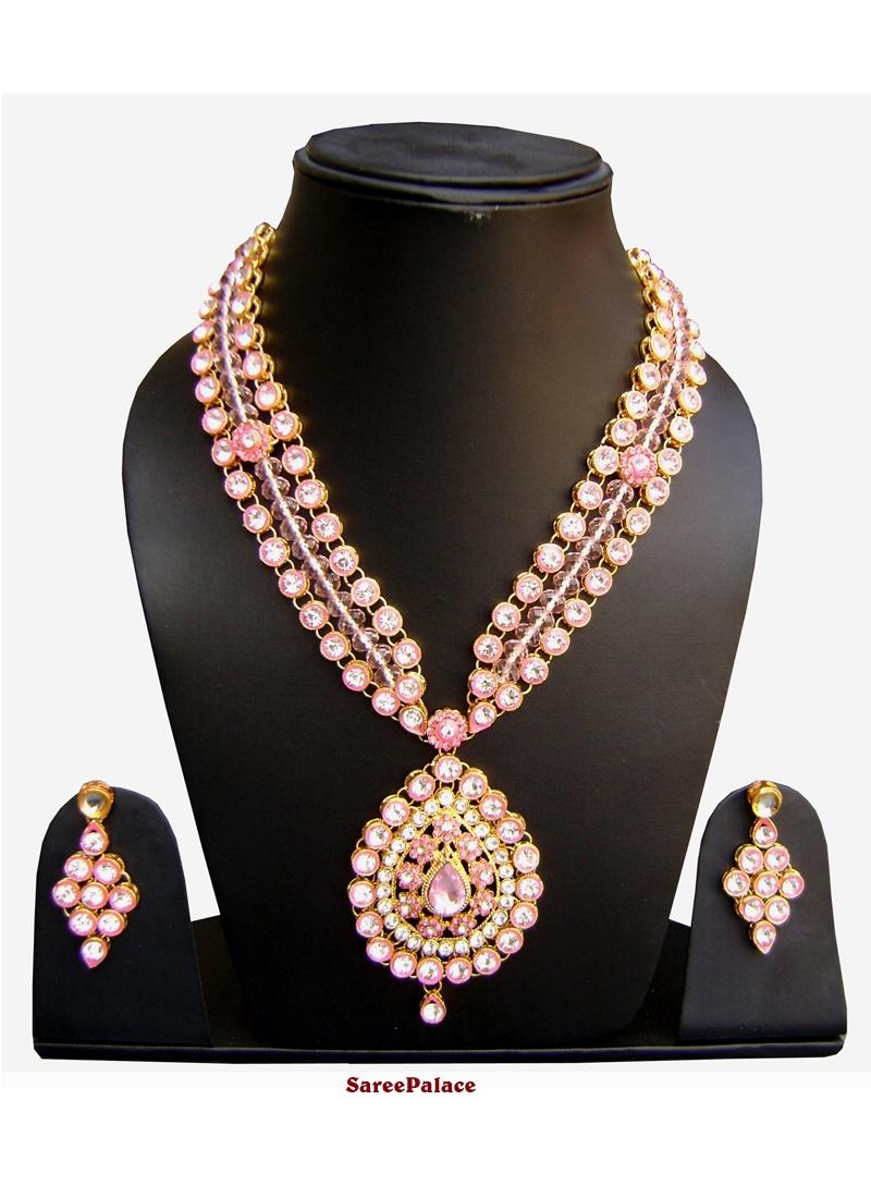 Stone Work Rose Pink Necklace Set