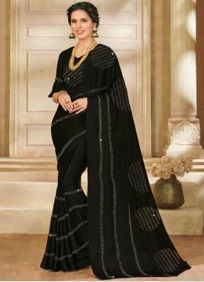 Stone Work Satin Silk Designer Saree in Black