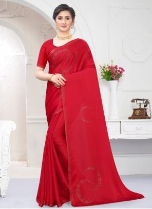 Stone Work Satin Trendy Red Saree