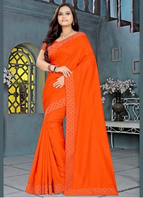 Stone Work Silk Orange Bollywood Saree