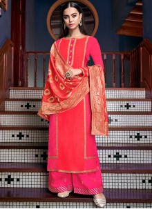 Stone Work Silk Designer Palazzo Salwar Suit in Hot Pink