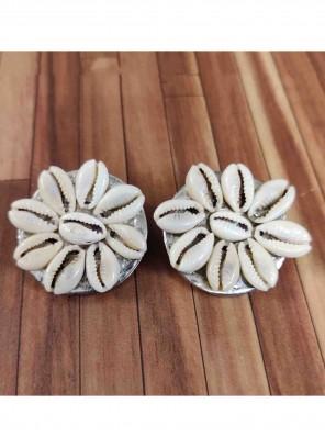 Stone Work Silver Ear Rings