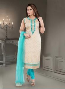 Straight Salwar Kameez Resham Silk in Cream