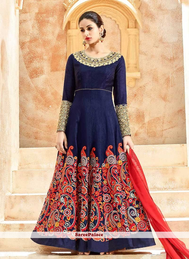 Strange Art Silk Resham Work Floor Length Anarkali Suit