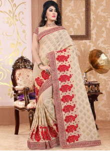 Strange Faux Georgette Beige Patch Border Work Classic Designer Saree