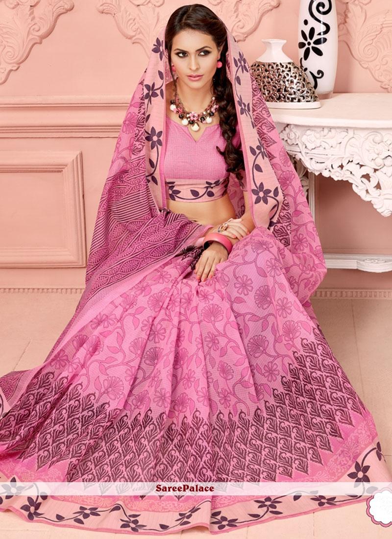 Strange Pink Cotton   Casual Saree