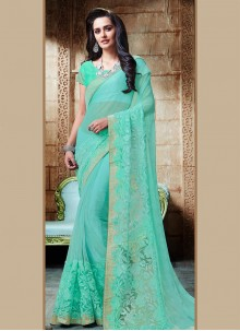 Strange Shimmer Georgette Embroidered Work Designer Saree