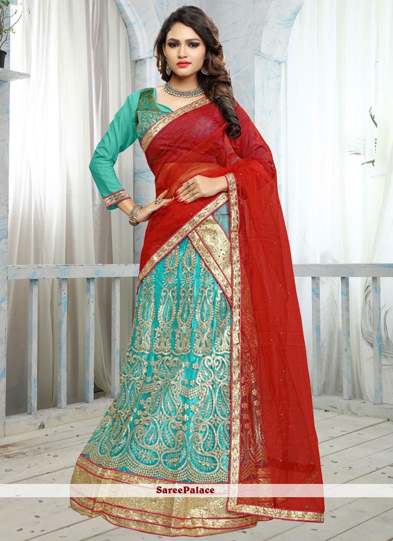 Striking Net Turquoise Lehenga Choli