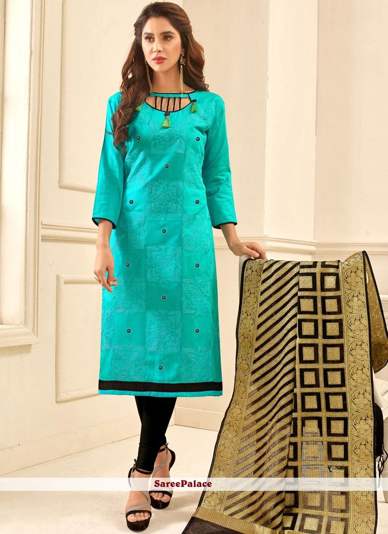 Striking Print Work Churidar Suit