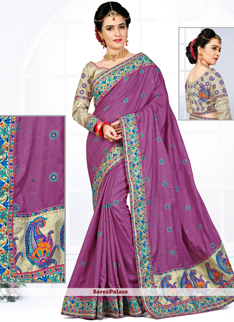 Striking Purple Embroidered Work Traditional  Saree