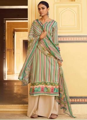 Stripe Print Green Salwar Suit