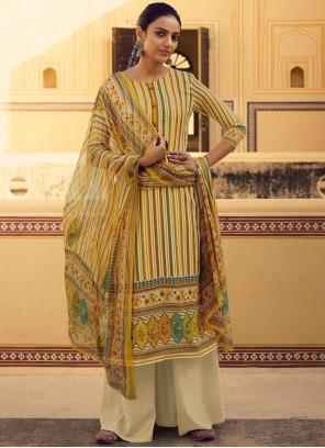 Stripe Print Yellow Salwar Suit
