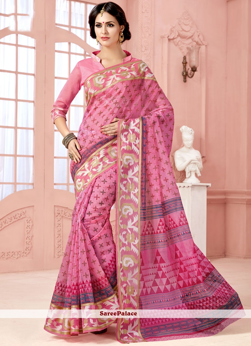 Stunning Cotton   Pink Casual Saree