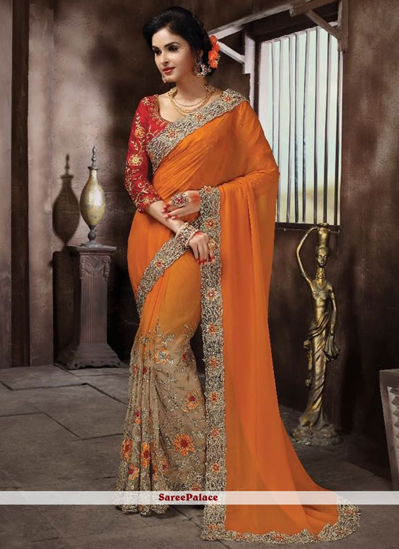 Stunning Georgette Embroidered Work Designer Half N Half Saree