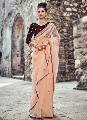 Stunning Tissue Hand Work Work Designer Saree