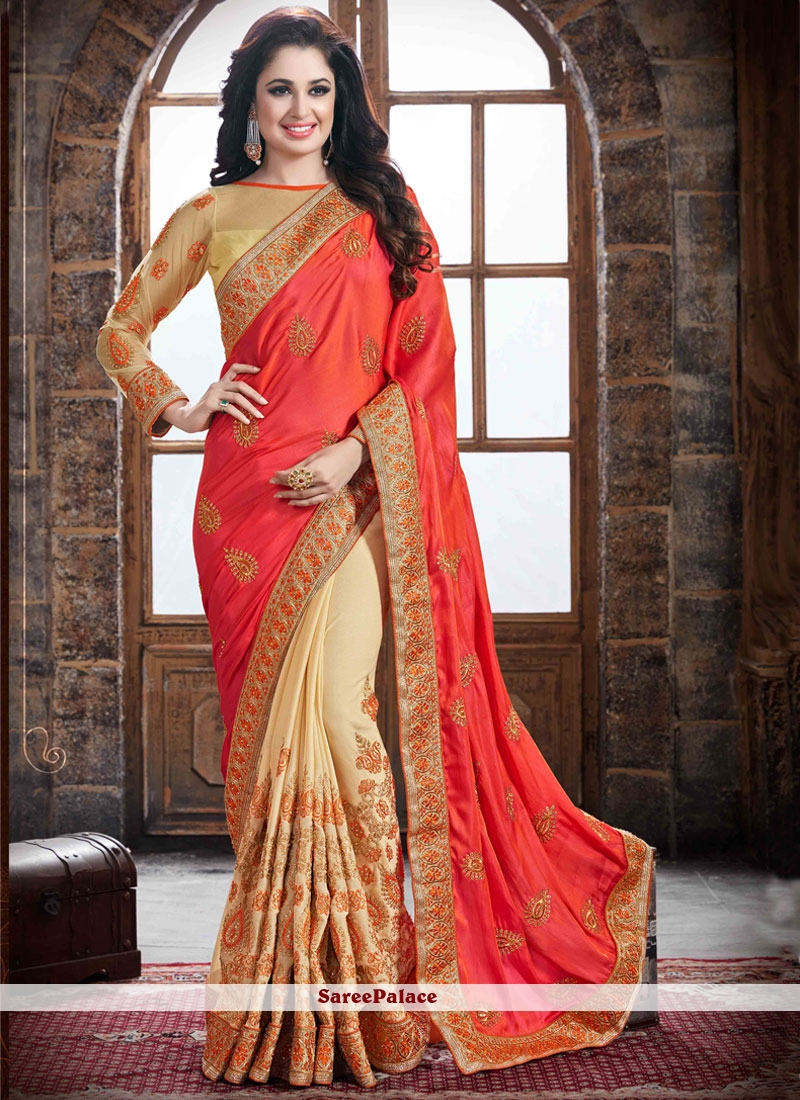 Stupendous Embroidered Work Beige and Orange Traditional  Saree