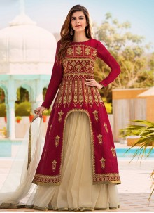 Stupendous Satin Beige and Maroon Long Choli Lehenga