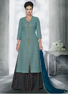 Stylish Blue and Grey Embroidered Work Long Choli Lehenga