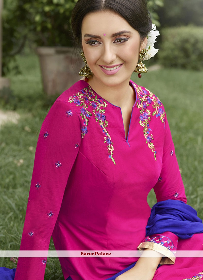 buy stylish hot pink embroidered work cotton punjabi suit online