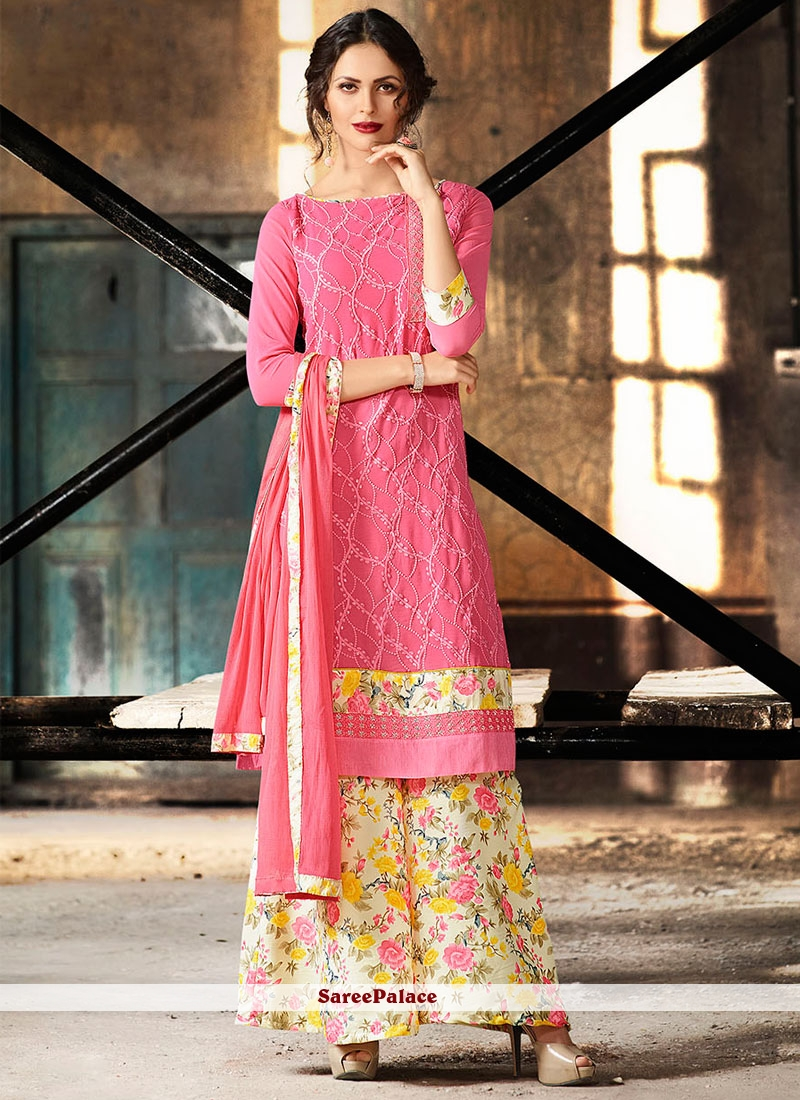 Pink Printed Georgette Palazzo Suit