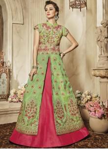 Suave Art Silk Hot Pink and Sea Green Lehenga Choli