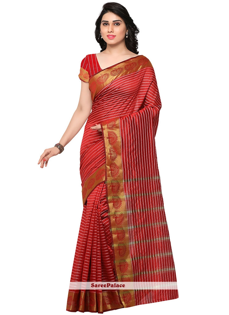 Suave Banarasi Silk Red Traditional  Saree