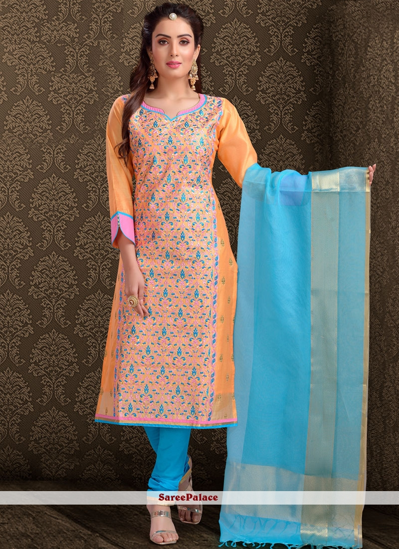 Buy Suave Chanderi Orange Churidar Designer Suit Online