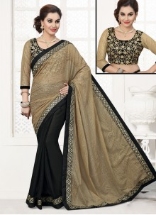 Suave Black Patch Border Work Designer Saree