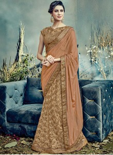 Subtle Brown Resham Work Net Lehenga Saree