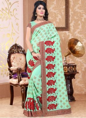 Subtle Faux Georgette Blue Classic Designer Saree