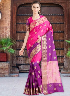 Subtle Hot Pink and Purple Weaving Work Art Silk Designer Traditional Saree
