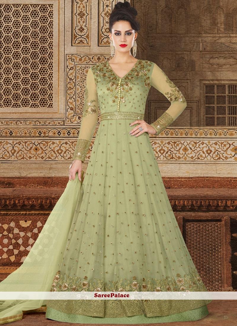 98157f51e0 Buy Subtle Lace Work Green Net Floor Length Anarkali Suit Online