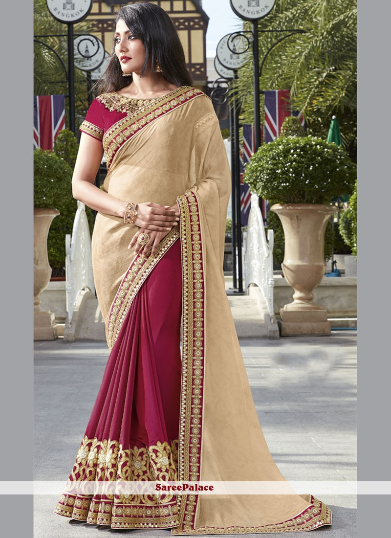 Sumptuous Embroidered Work Faux Chiffon Designer Half N Half Saree