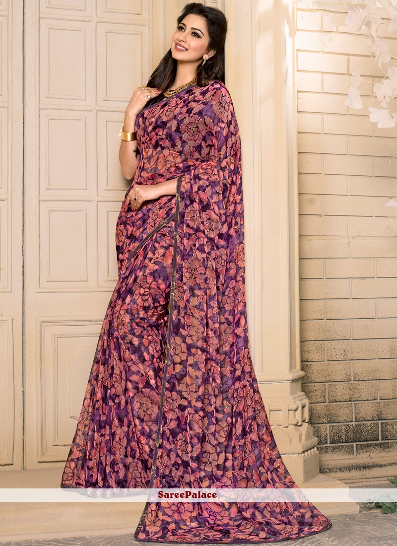 Sumptuous Georgette Pink and Purple Casual Saree