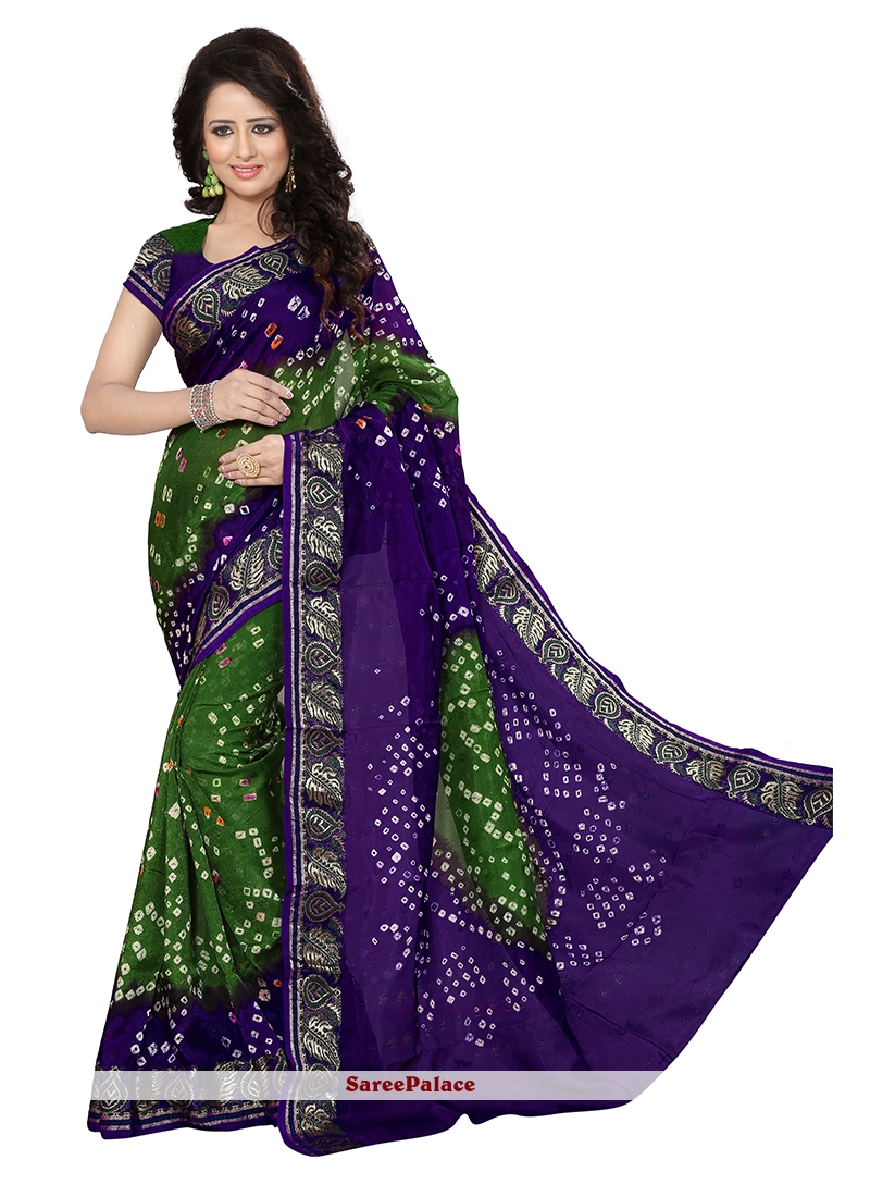 Sumptuous Jacquard Silk Bandhej Work Designer Traditional Saree