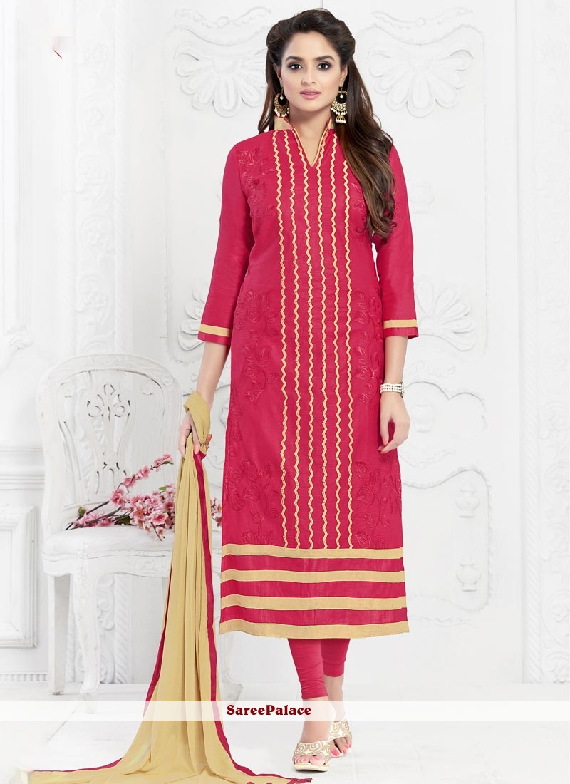 Sunshine Cotton   Hot Pink Embroidered Work Churidar Suit