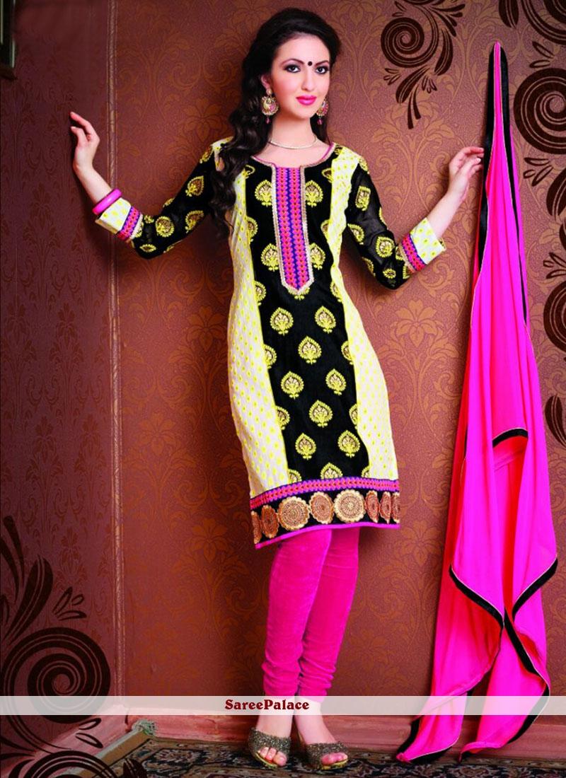 Sunshine Embroidered Work Churidar Suit