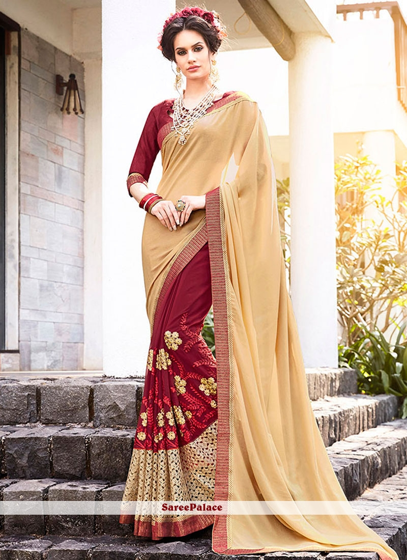 Sunshine Embroidered Work Faux Crepe Designer Half N Half Saree