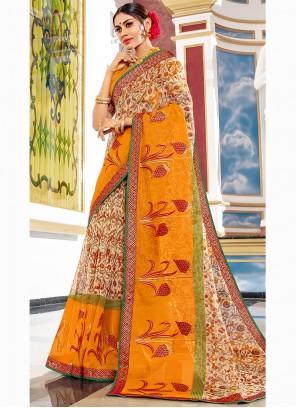 Super Net Beige Printed Designer Traditional Saree