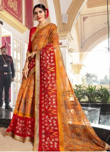 Super Net Mustard Designer Traditional Saree