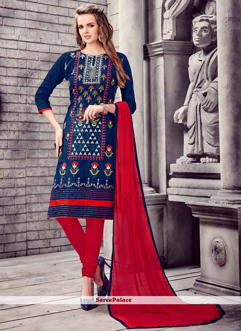 Superb Embroidered Work Navy Blue Churidar Designer Suit