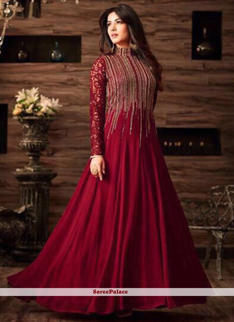 293ee8337d Buy Superb Net Maroon Resham Work Floor Length Anarkali Suit Online