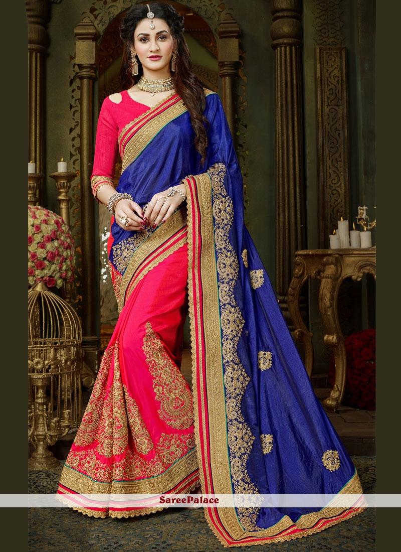 Superlative Art Silk Blue and Hot Pink Designer Half N Half Saree