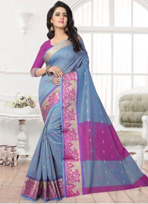 Superlative Banarasi Silk Firozi Silk Saree